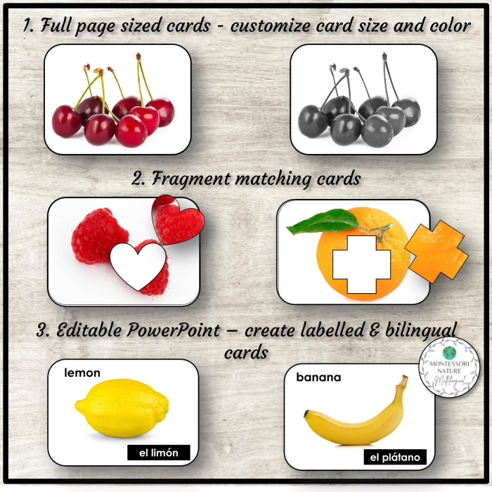 Types of cards included in the printable along with picture of different types of fruits included in the printable - orange, cherries, banana, lemon.