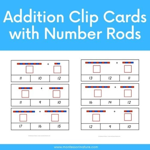 Free Printable - Addition Clip Cards with Number Rods