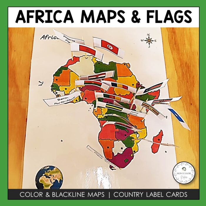 Africa Maps and Flags Montessori Nature Printable