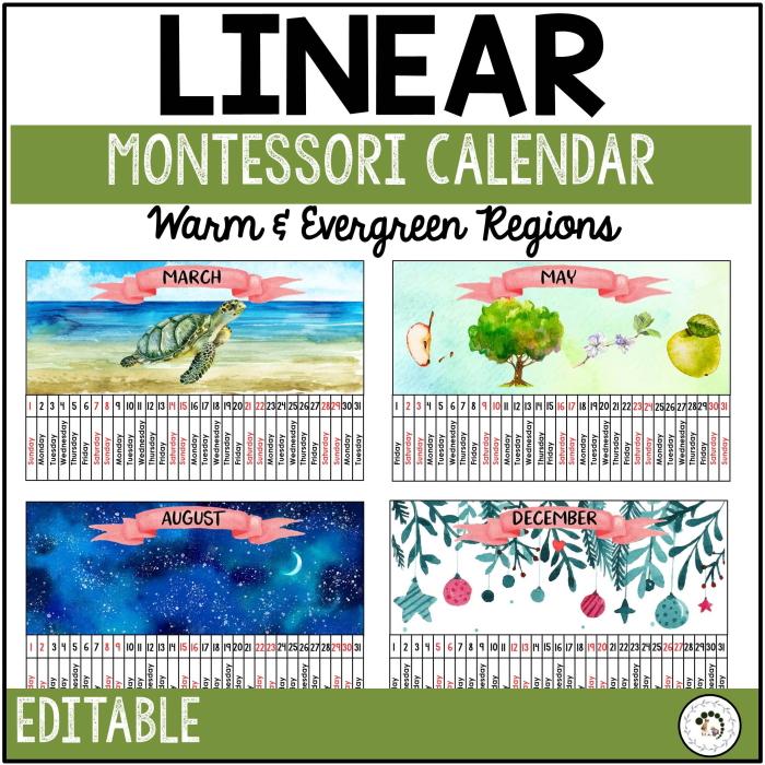 Editable linear calendar for evergreen regions